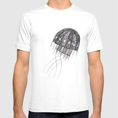 pattern jellyfish Mens Fitted Tee White SMALL
