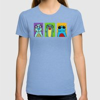 Guys with Glasses Womens Fitted Tee Tri-Blue SMALL