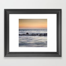 Silver sea at sunset Framed Art Print