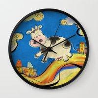 Cow - blue Wall Clock