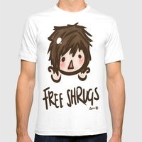 'Free Shrugs' Mens Fitted Tee White SMALL