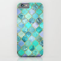 iPhone Cases featuring Cool Jade & Icy Mint Decorative Moroccan Tile Pattern by micklyn