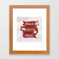 Home Is - In Red Framed Art Print