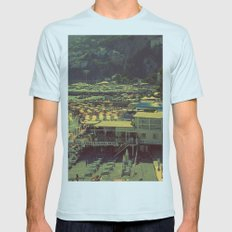 Beach in Amalfi, Italy Mens Fitted Tee Light Blue SMALL
