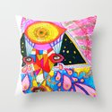 Psychedelic Wrestler Throw Pillow
