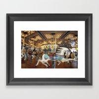 Carousel in Seaside Framed Art Print