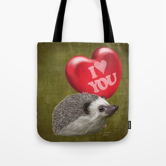 Hedgehog in love with a red balloon Tote Bag