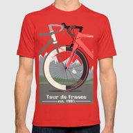 Tour De France Bicycle Mens Fitted Tee Red SMALL