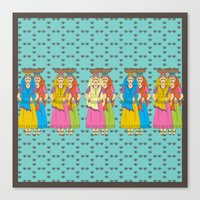Indian Village Girls Canvas Print