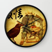 The old samurai and his faithful friendly the crow Wall Clock
