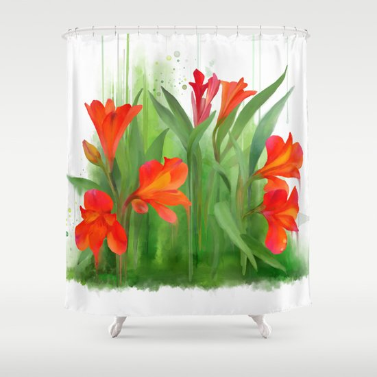 Red - orange flowers, watercolors Shower Curtain by IvanaW | Society6