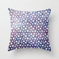White stars on bold grunge blue background Throw Pillow