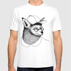 Hipster Fox SMALL White Mens Fitted Tee