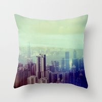 Hong Kong, Polaroid Throw Pillow