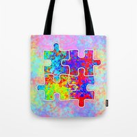 Autism Colorful Puzzle Pieces Tote Bag