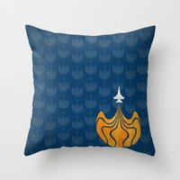 Retro Rocket Throw Pillow