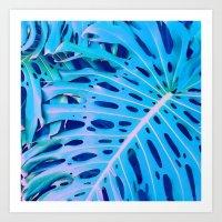 Monstera Blue Art Print