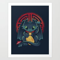 Maneki Dragon Art Print