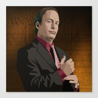 Canvas Print featuring Breaking Bad Illustrated - Saul Goodman by Martin Woutisseth