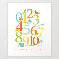 Animal Numbers -  Sandbo… Art Print