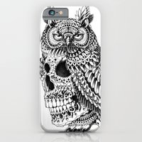 iPhone Cases featuring Great Horned Skull by BIOWORKZ