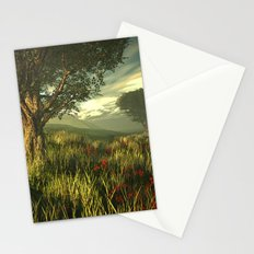 Summer tree in a poppy field Stationery Cards