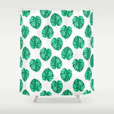 Monstera house plant leaf green painting pattern trendy hipster indoor house plant tropical garden   Shower Curtain