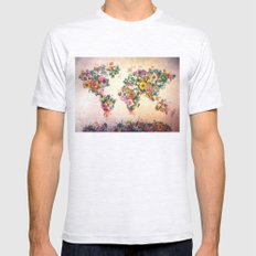 world map Mens Fitted Tee Ash Grey SMALL
