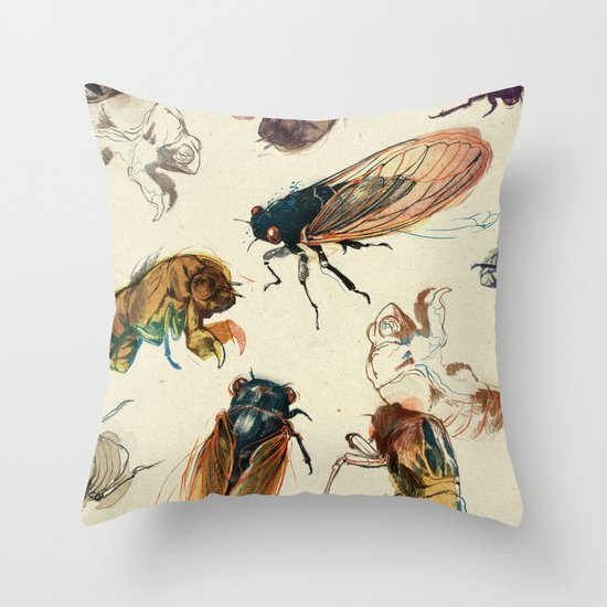 summer cicadas Throw Pillow