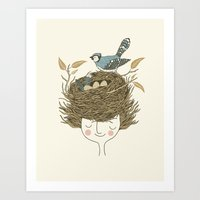 Art Print featuring Bird Hair Day by Monica Gifford