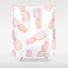 Pink Pineapples Shower Curtain
