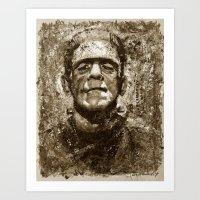 The Creature - Sepia Ver… Art Print