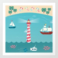 Beside The Seaside Art Print