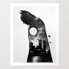 Bat Man Double Exposure Art Print