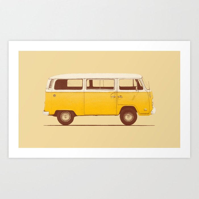 Sunday's Society6 | Yellow Volkswagen van illustration, art print