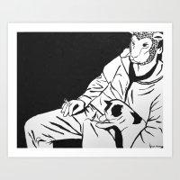 Sheep Mask and Cat Art Print
