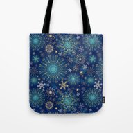 Blue Gold Snowflakes  Tote Bag