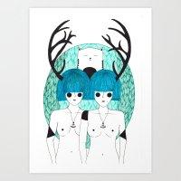 Antler Twins Art Print