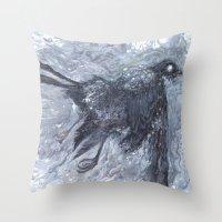 The Bearded Crow Throw Pillow