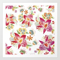 Tropical Flowers Waterco… Art Print