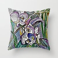 Engraved Orchids Throw Pillow