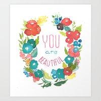 Watercolor wreath Art Print