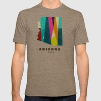 arizona state map modern Mens Fitted Tee Tri-Coffee SMALL