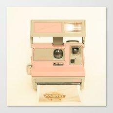 Pink Pola Love vintage camera Canvas Print