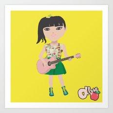 Ollyne Apple with guitar Art Print