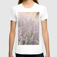 Purple flowers Womens Fitted Tee White SMALL