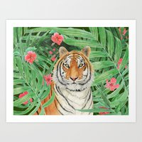 Tiger with flowers Art Print