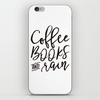 Coffee Books And Rain Art Print iPhone & iPod Skin