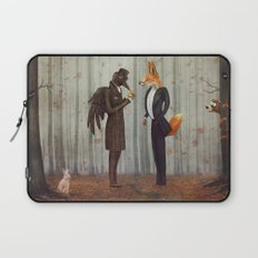 Raven and Fox in  a dark forest looking at the watch Laptop Sleeve