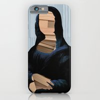 iPhone & iPod Case featuring Mona Lisa - blue shining WoodCut Collage by Marko Köppe